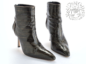 Size 40.5 Manolo Blahnik Bronze Pointy Toe Ankle Boots