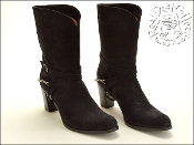 Size 39.5 Sartore Black Nubuck Leather Harness Boots