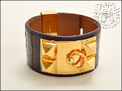 Hermes Shiny Brown Alligator Collier de Chien CDC Cuff Bracelet
