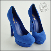 Size 39 Saint Laurent YSL Blue Suede Platform High Heel Pumps