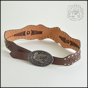 Etro Brown Whip-Stitched Leather Silver Pegasus Buckle Stud Belt