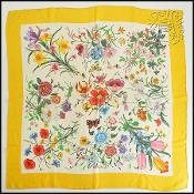 "Gucci Yellow Border Flora Flowers 32"" Silk Chiffon Square Scarf"