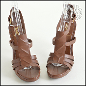 Size 39 Saint Laurent YSL Brown Leather High Heel Sandals