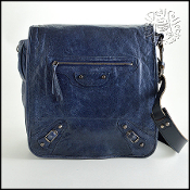 Balenciaga Blueberry Goatskin Leather Men's Messenger Bag