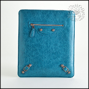 Balenciaga Lagoon Turquoise Blue Rose Gold Hardware iPad Sleeve