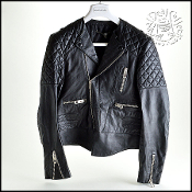 Size 38FR Balenciaga Black Lambskin Leather Quilted Biker Jacket