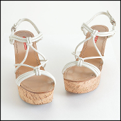 Size 38 Prada Ivory Leather Strappy Cork Wedge Sandals