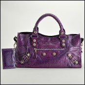 Balenciaga Violet Lambskin Silver Giant Hardware Part Time Tote