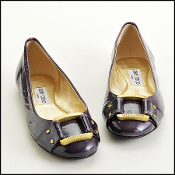 Size 37.5 Jimmy Choo Purple Patent Leather Morse Buckle Flats