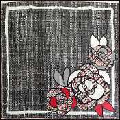 Chanel Black/Grey/Red Tweed Print Camellia 90cm Silk Twill Scarf