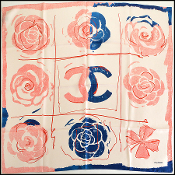 Chanel Pink and Blue Floral 90cm Silk Twill Scarf