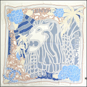 Chanel White & Blue Chiffon Lion Head 90x90 Silk Scarf