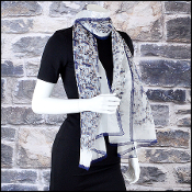 Chanel Navy & Cream Chiffon Tweed Print Stole 70x180 Long Scarf