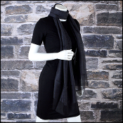 Chanel Black Cashmere & Silk CC Logo Stole 70x180 Long Scarf