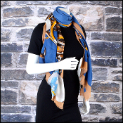 Chanel Tan and Blue Bauble 70/180cm Long Scarf