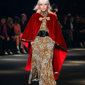 Saint Laurent Red Velvet/Gold Sequin Trim Hooded Cape w/ Tassel