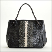 Bottega Veneta Black & Grey Intrecciato Nappa Leather Club Hobo