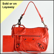Balenciaga Coral Red Shoulder Clutch Bag