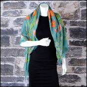 Gucci Teal Nuovoflora Floral Silk And Wool Shawl