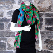 Gucci Green and Blue Pop Flower Modal Shawl