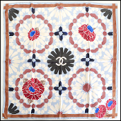 Chanel Blue/Brown Kaleidoscope & Flowers 90cm Silk Twill Scarf