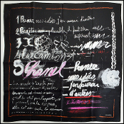 Chanel Black/White Handwritten Ideas 90cm Silk Twill Scarf