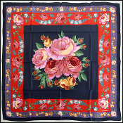 Chanel Navy/Violet/Red DBL Border Floral 90cm Silk Twill Scarf