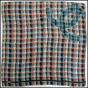 Chanel Tri Color Tweed Glow Logo 90cm Silk Twill Scarf