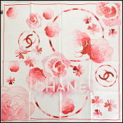 Chanel White/Red Clovers and Camellias 90cm Silk Twill Scarf