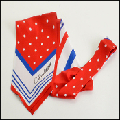 Chanel Polkadot/Stripes Airline Crew Silk Twill Bowtie Bandeau