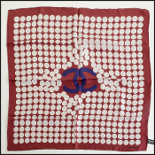 Chanel Maroon Pop Art Pearls Navy Logo 57cm Silk Twill Bandana