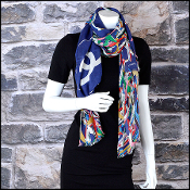 Chanel Blue/Multi Air Traffic Giant CC Logo Long Scarf
