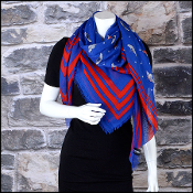 Chanel Royal Blue & Red Polkadots & Wing Pins Shawl