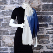 Chanel Cream & Blue Ombre Cashmere & Silk Long Scarf