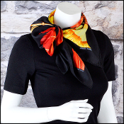 Hermes Black & Red Brazil (detail) 90cm Silk Scarf