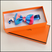 Hermes Pink/Turquoise Silk Bow Tie