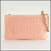 Louboutin Baby Pink Loubiposh Spiked Clutch