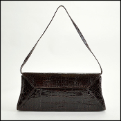 Nancy Gonzalez Dark Brown Crocodile Clutch Handbag