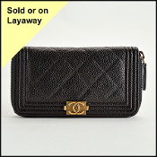 Chanel Black Caviar Zip Around Boy Wallet