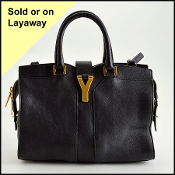 Yves Saint Laurent Black Leather Petit Chyc Cabas Bag with Strap