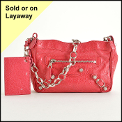 Balenciaga Rose Thulian Silver Giant Hardware Shoulder Bag