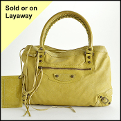 Balenciaga Anis Chartreuse Goatskin Leather Purse Shoulder Bag