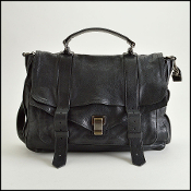 Proenza Schouler Black Lux Leather Large PS1 Satchel