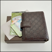 Gucci Dark Brown Guccissima 6-Ring Agenda Address Book w/Inserts