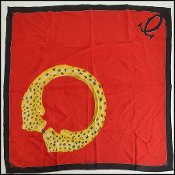 Cartier Vintage Red/Black/Gold must de Cartier Silk 90cm Scarf