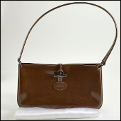 Longchamp Chocolate Truffle Patent Leather Gunmetal Roseau Bag