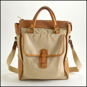 Ghurka Vintage Beige Canvas/Tan Leather No.3 The Overlander Tote