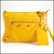 Balenciaga Yellow Leather Handle Clutch