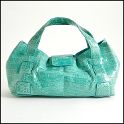 Nancy Gonzalez Aqua Crocodile Evening Bag