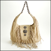 Carlos Falchi Beige Leather Western Fringe Hobo Bag